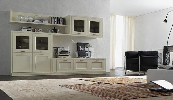 Parete attrezzata laccata bianca simple emejing parete for Parete attrezzata classica contemporanea